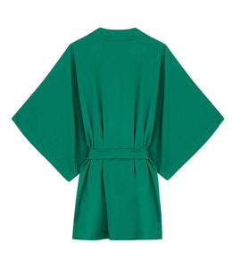 back view of green silk robe