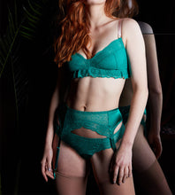 Load image into Gallery viewer, Model wears green silk and lace suspender belt