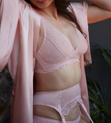 Pink silk and lace suspender belt