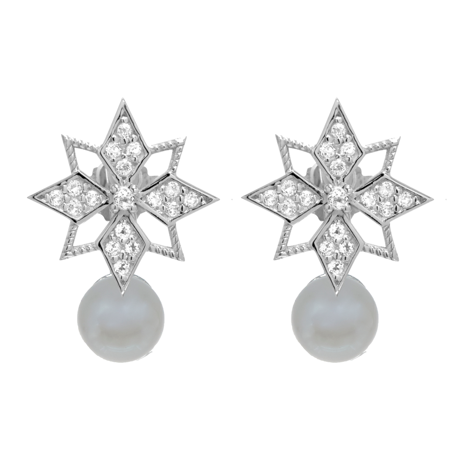 Star Studs with Pearl Ear Jacket - Carrie K.