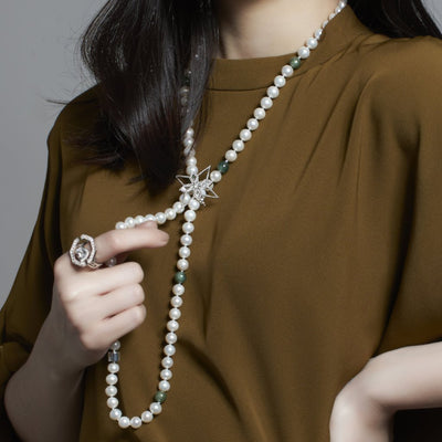 8mm Freshwater Classic Pearl Necklace with Jade - Carrie K.