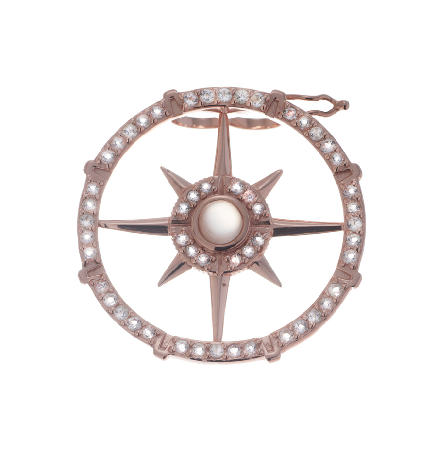 Compass Pearl Clip (9K Gold)