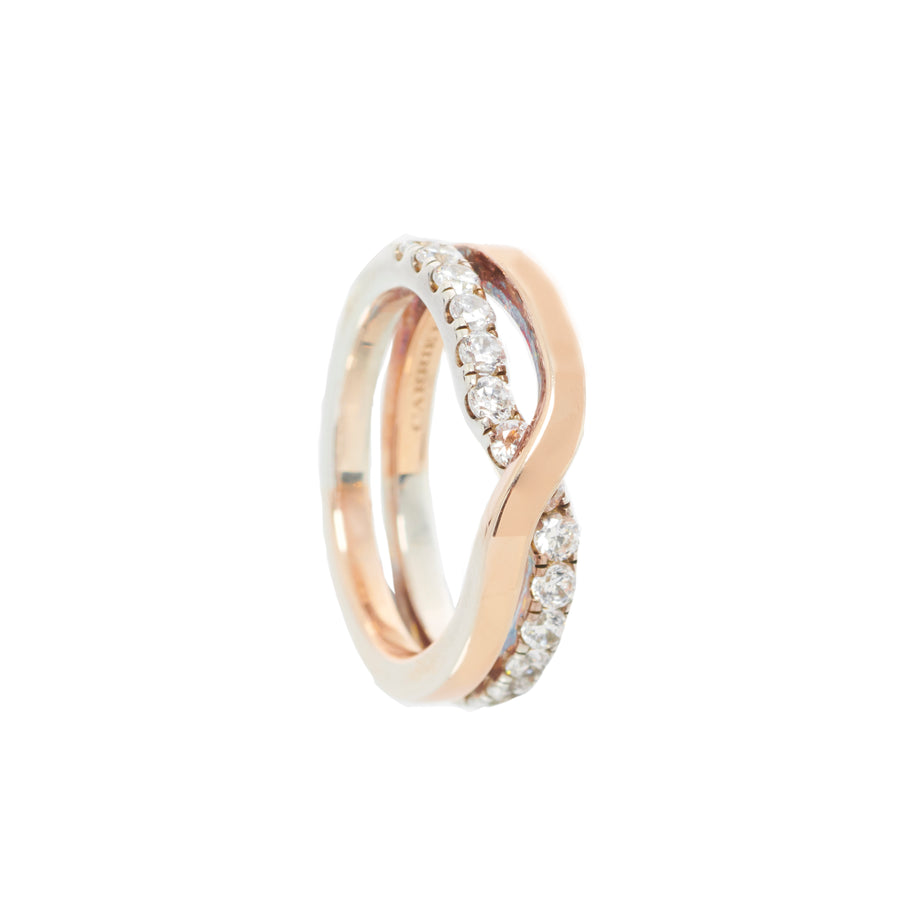 Infinity Ring II with Half Diamond Pave Ring - Carrie K.