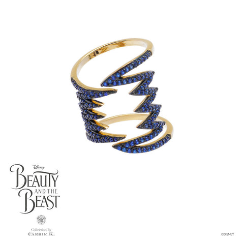 Teeth Blue Bling Yellow Gold Ring