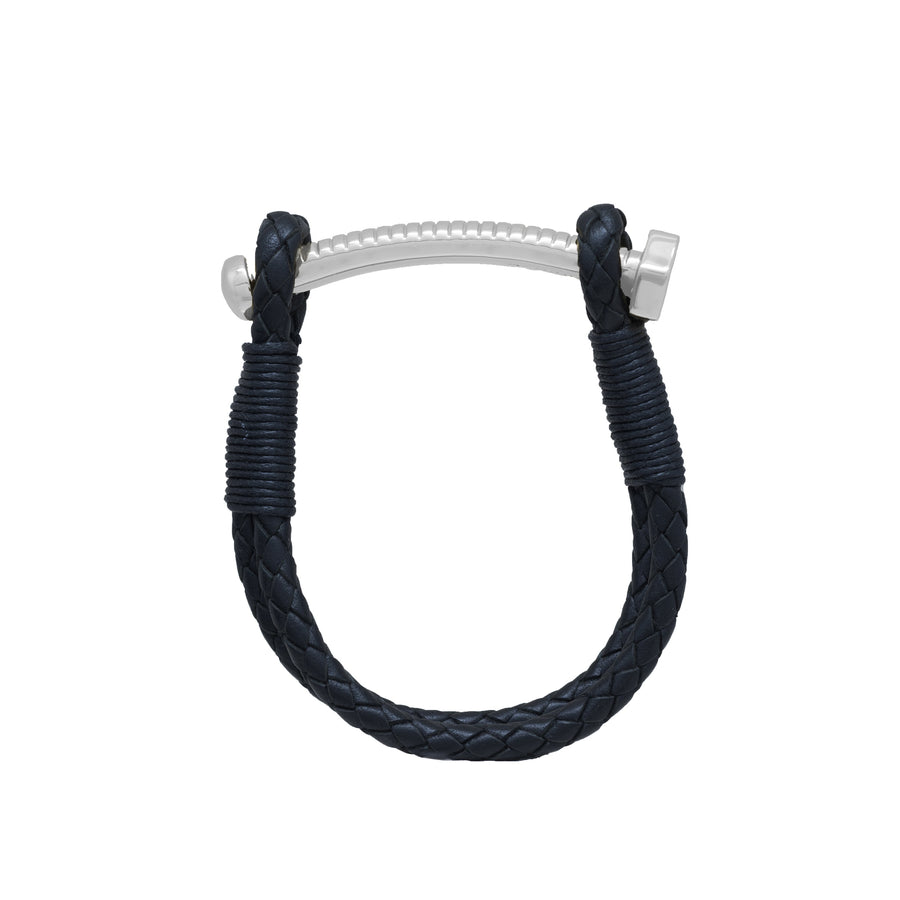 Nut & Bolt Black Leather Bolo Bracelet - Carrie K.