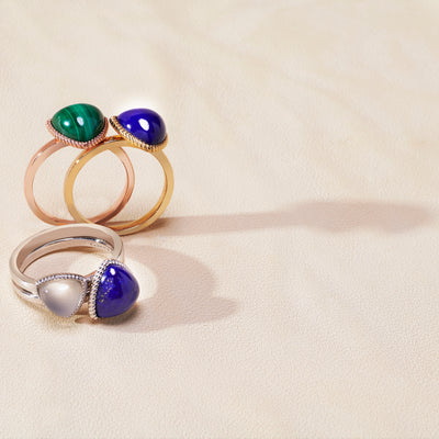 Trilliant Cabochon Ring (9K Gold) - Carrie K.