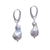 Baroque Pearl Silver Lever Earrings - Carrie K.