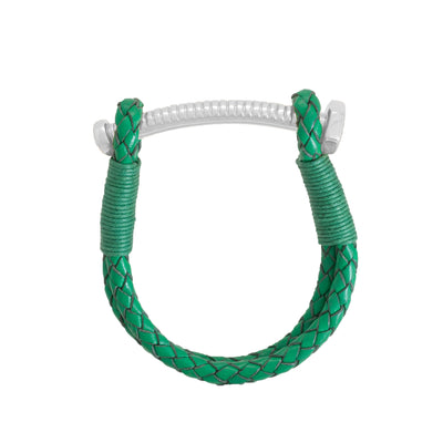 Nut & Bolt Green Leather Bracelet - Carrie K.