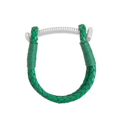 Nut and Bolt Green Leather Bracelet - Carrie K.