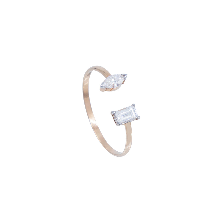 Marquise and Baguette Diamond Open Ring - Carrie K.