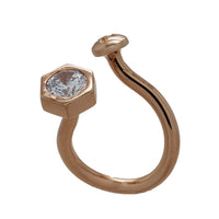 Nut and Bolt White Bling Oblique Ring - Carrie K.