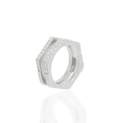 Nut & Bolt Silver Double-Band Rings - Carrie K.