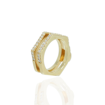 Nut Bolt Yellow Gold Double Band Rings Carrie K