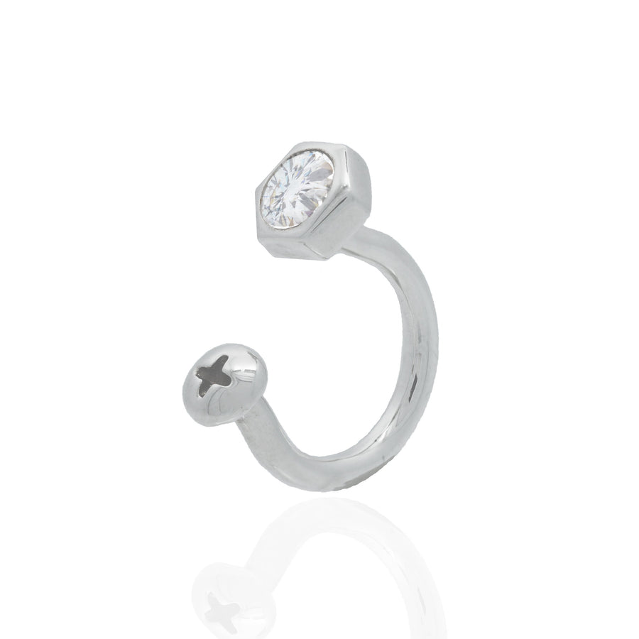 Nut and Bolt White Bling Ring