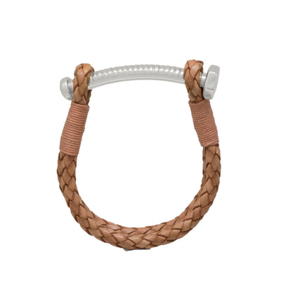 Nut & Bolt Natural Leather Bracelet - Carrie K.