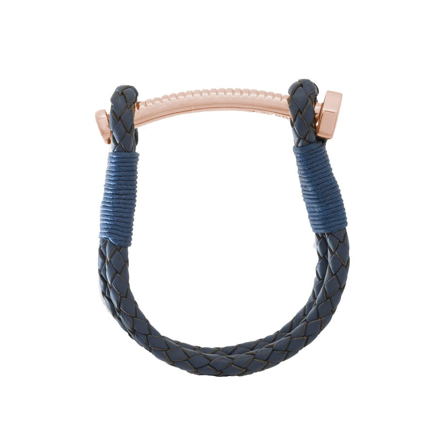 Nut & Bolt Navy Blue Leather Bolo Bracelet - Carrie K.