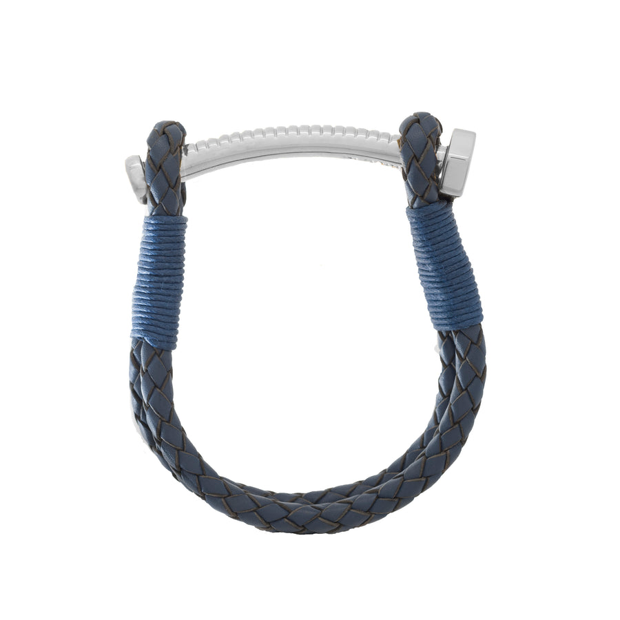 Nut & Bolt Navy Blue Leather Bracelet - Carrie K.