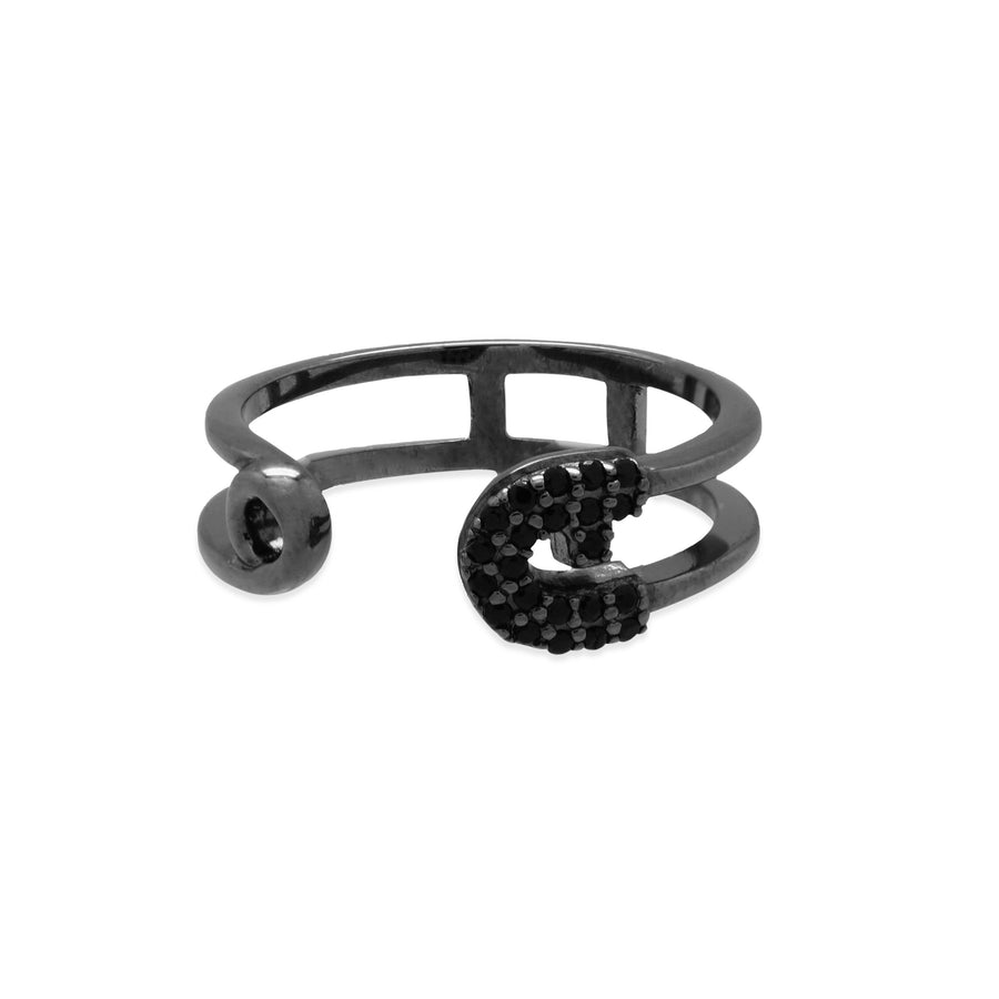 Reborn Safety Pin Bling Black Gold Ring - Carrie K.