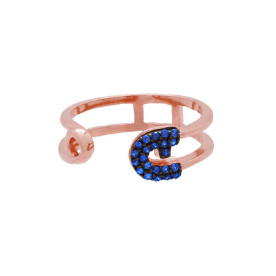 Reborn Safety Pin Bling Rose Gold Ring - Carrie K.
