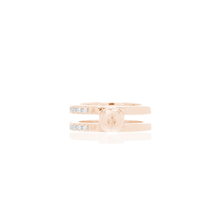 Nut & Bolt Rose Gold Double-Band Rings - Carrie K.
