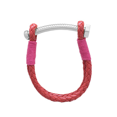 Nut & Bolt Red Leather Bolo Bracelet - Carrie K.