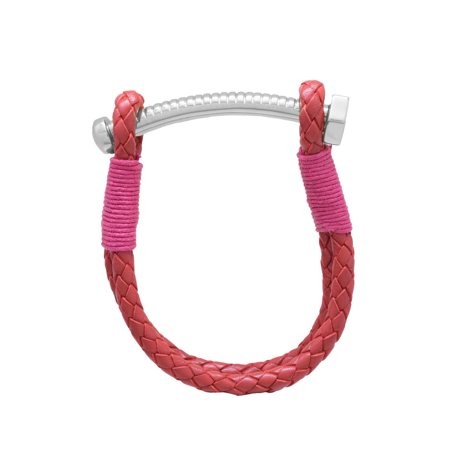 Nut & Bolt Red Leather Bracelet - Carrie K.