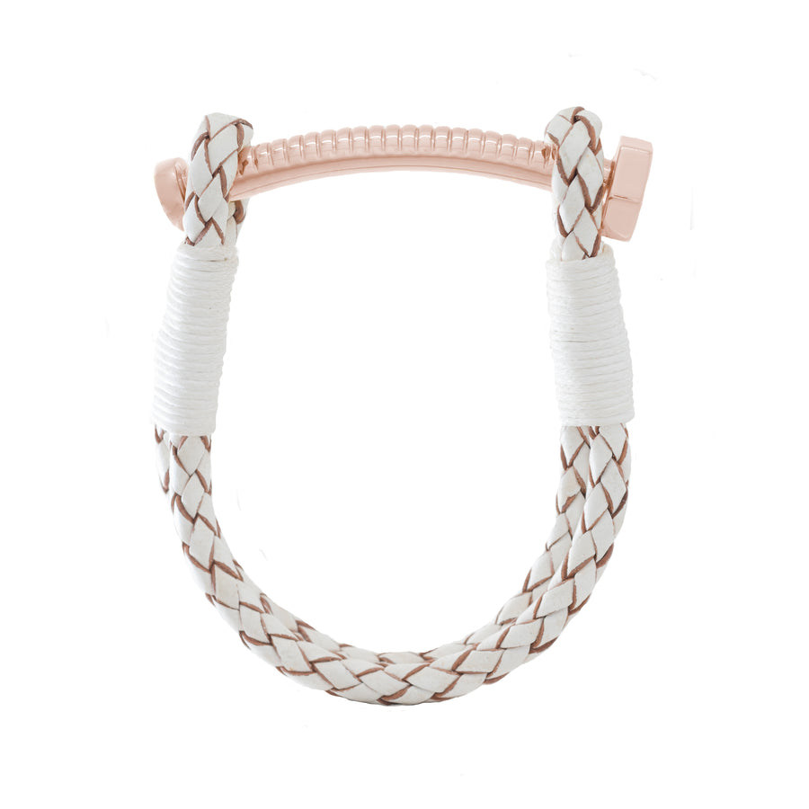 Nut & Bolt White Leather Bolo Bracelet - Carrie K.