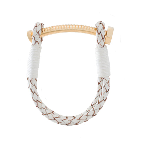 Nut and Bolt White Leather Bracelet