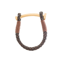 Nut & Bolt Antique Brown Leather Bolo Bracelet - Carrie K.