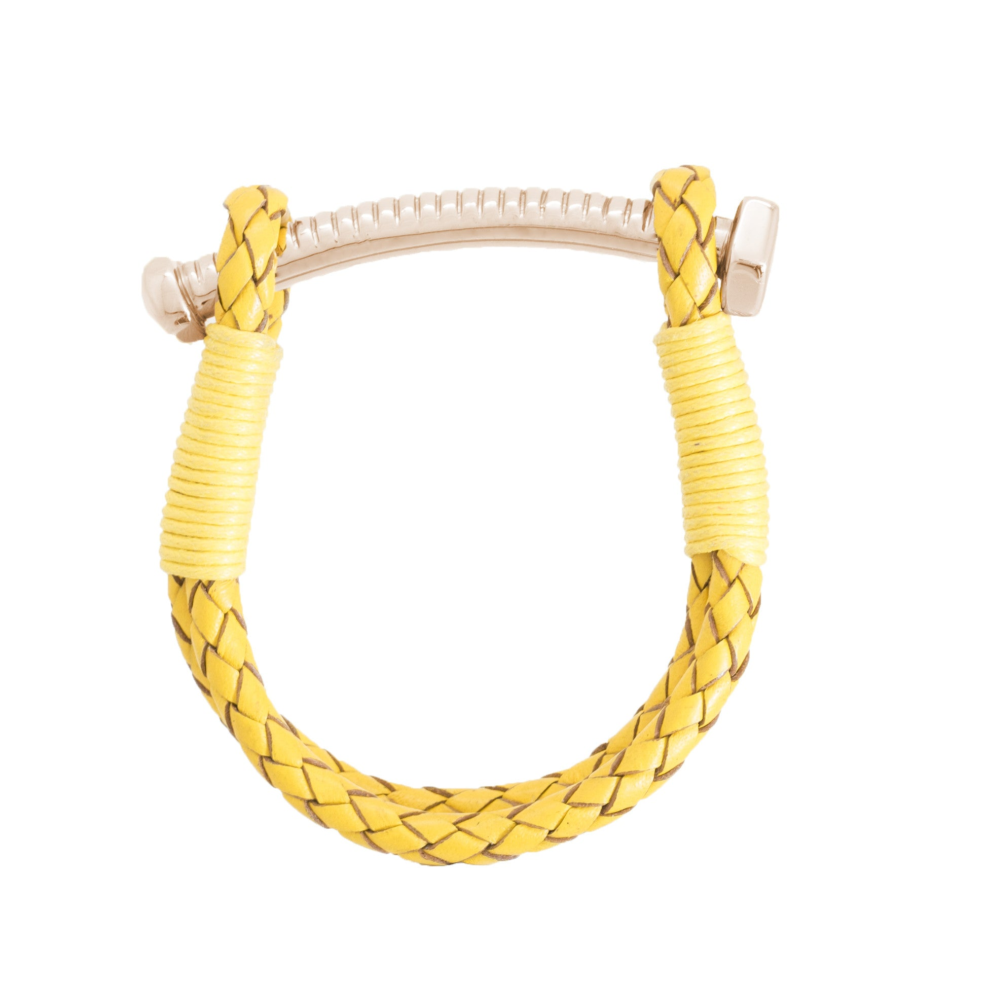 Nut and Bolt Mustard Leather Bracelet - Carrie K.
