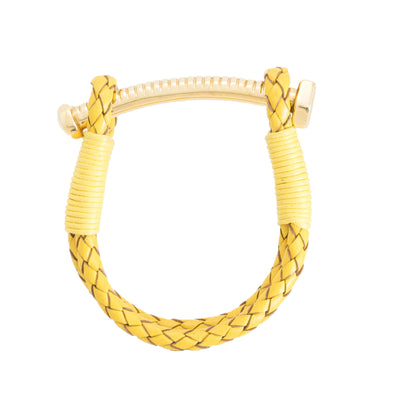 Nut & Bolt Mustard Leather Bracelet - Carrie K.