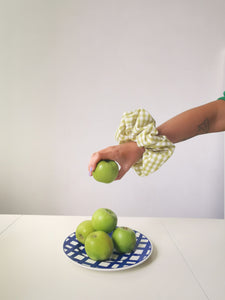 Large Apple Green Gingham Scrunchie