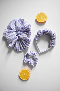 Lilac Gingham Scrunchie - Various Sizes