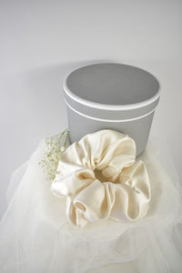 Luxury Large Silk Scrunchie in Ivory - Jeneral Store Bridal