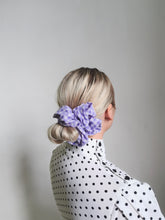 Load image into Gallery viewer, Large Lilac Gingham Scrunchie