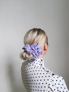 Large Lilac Gingham Scrunchie