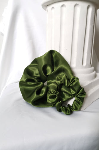 Large Satin Scrunchie in Olive