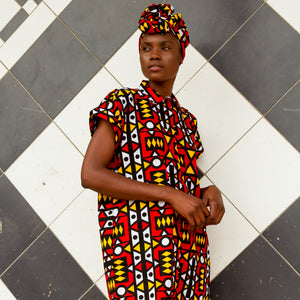African dress in electric red