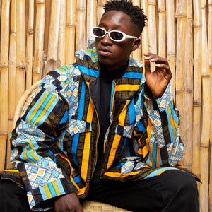 African Jacket In Blue Kente Print