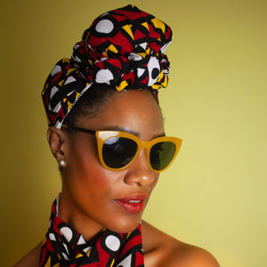 African Clothing / African Headwrap In Electric Red Samakaka