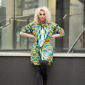Women's African Shirt In Beautiful Kente