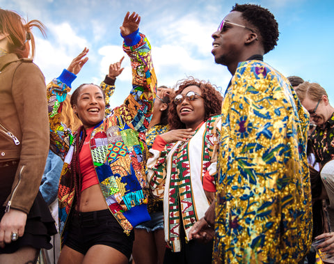African Bomber Jackets In Gold, kente, and Patchwork