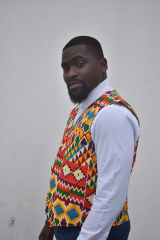 African print waistcoat in orange kente