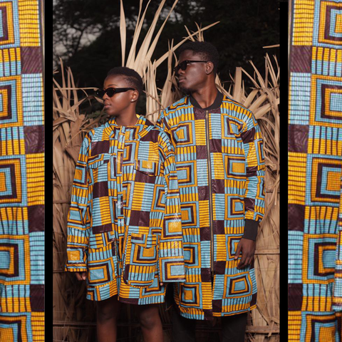 African Clothing / African print jackets in Blue kente