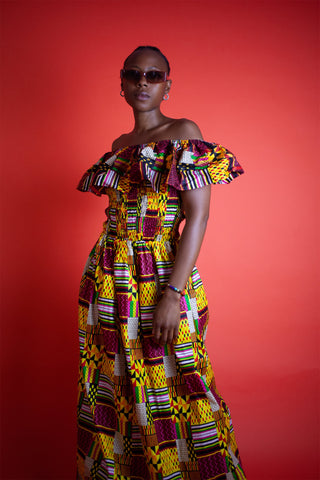 African Clothing / African Maxi Dress In Amazing Kente