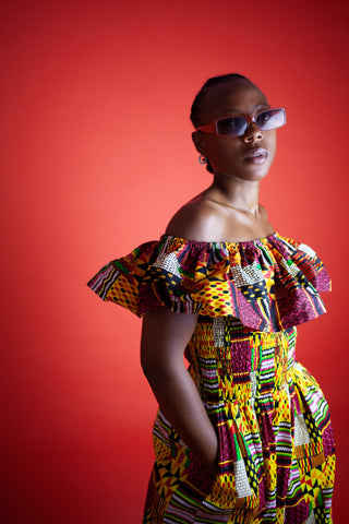 African Dress In Kente / Maxi Dress Made In Africa / Continent Clothing