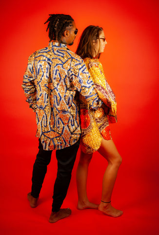 African Shirts In Gold Metallic Print, Made In Africa