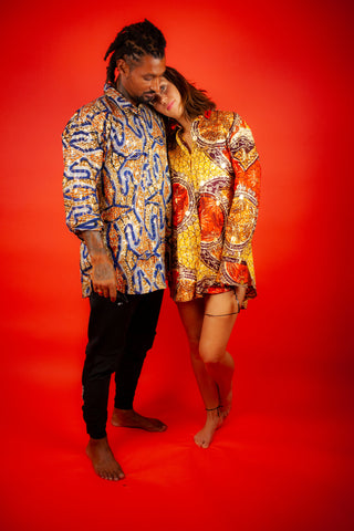 Matching Women's & Men's African Shirts in Gold Ankara