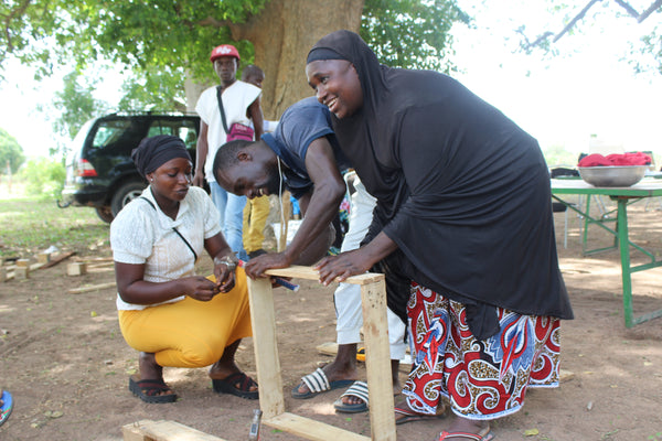 The Trainees making a micro garden table