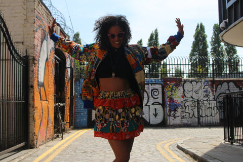 African Clothing Outfit / Patchwork Jacket With Patchwork Skirt
